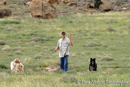 Tom decided to get the dogs out and take them for a walk (they were quite a ways from the horses).